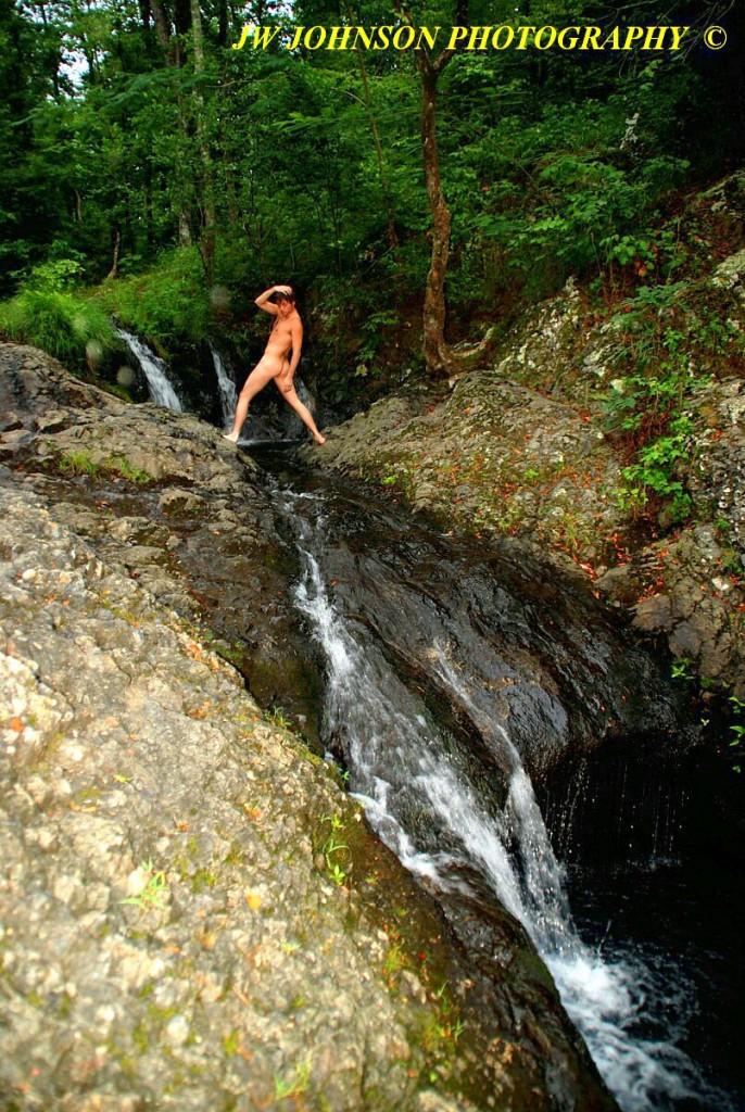 Art Nude Straddling Falls Stream 2A