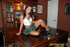 Schoolgirl on Desk