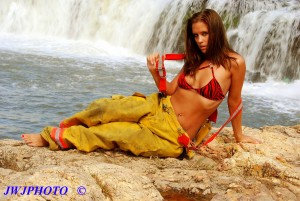 Hot and Sexy Bunker Babe at Waterfall